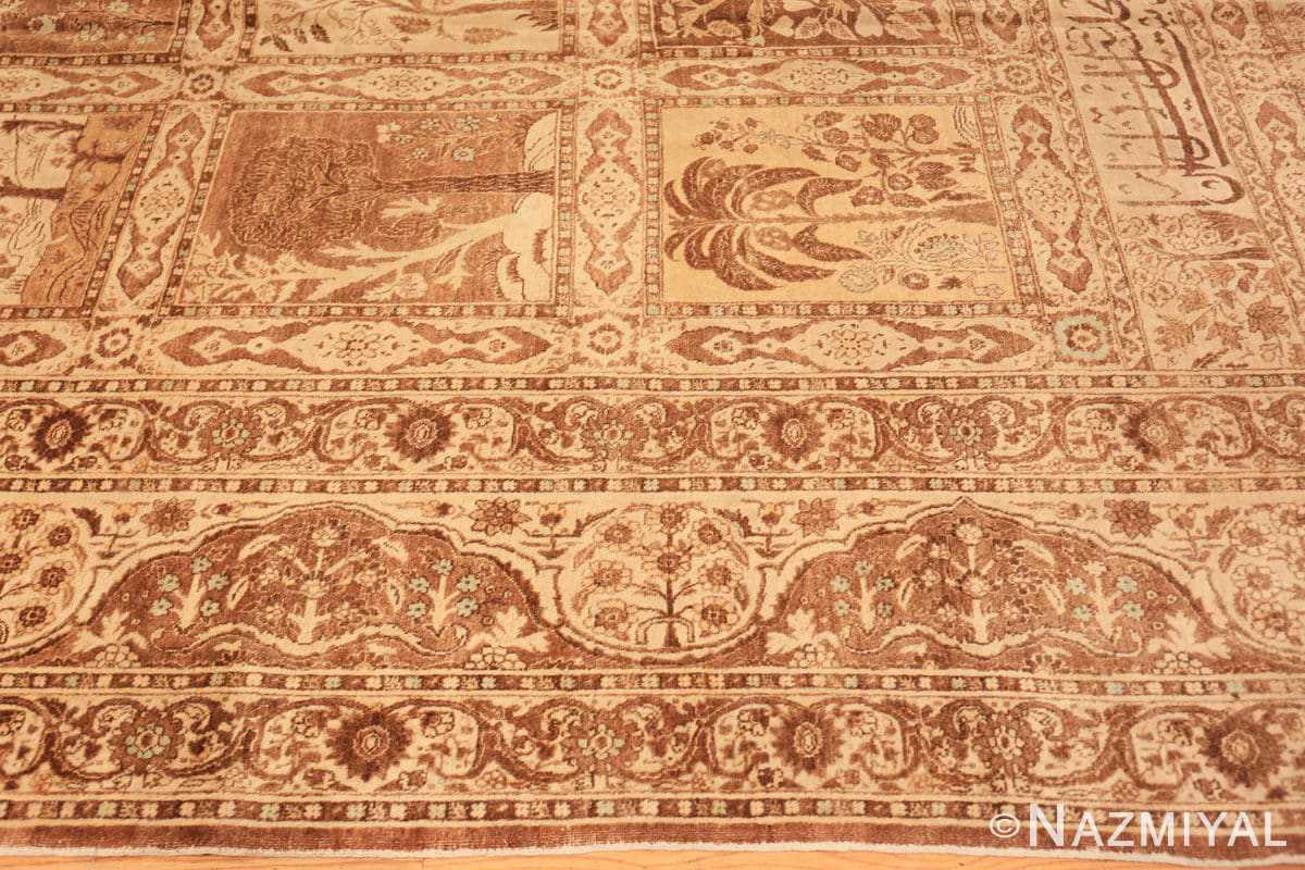 Border Antique Tabriz garden design Persian rug 50258 by Nazmiyal