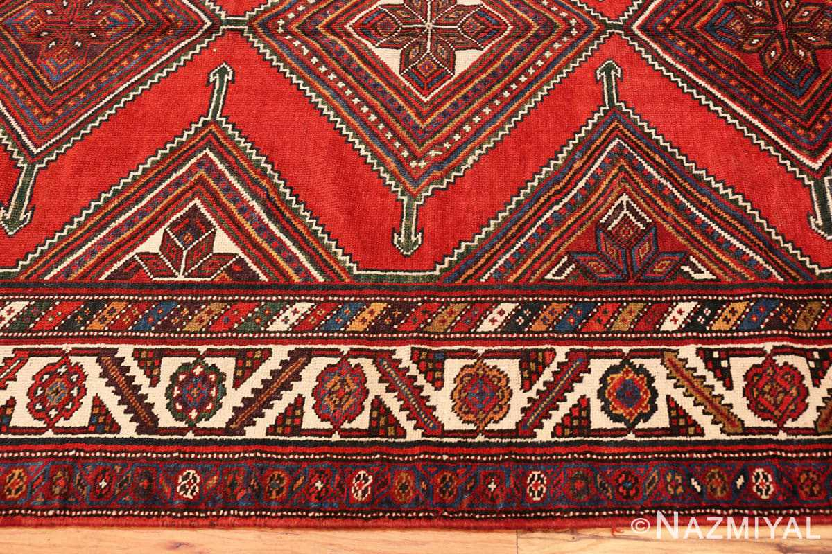 Border Antique red color Persian Ghashgai runner rug 50301 by Nazmiyal
