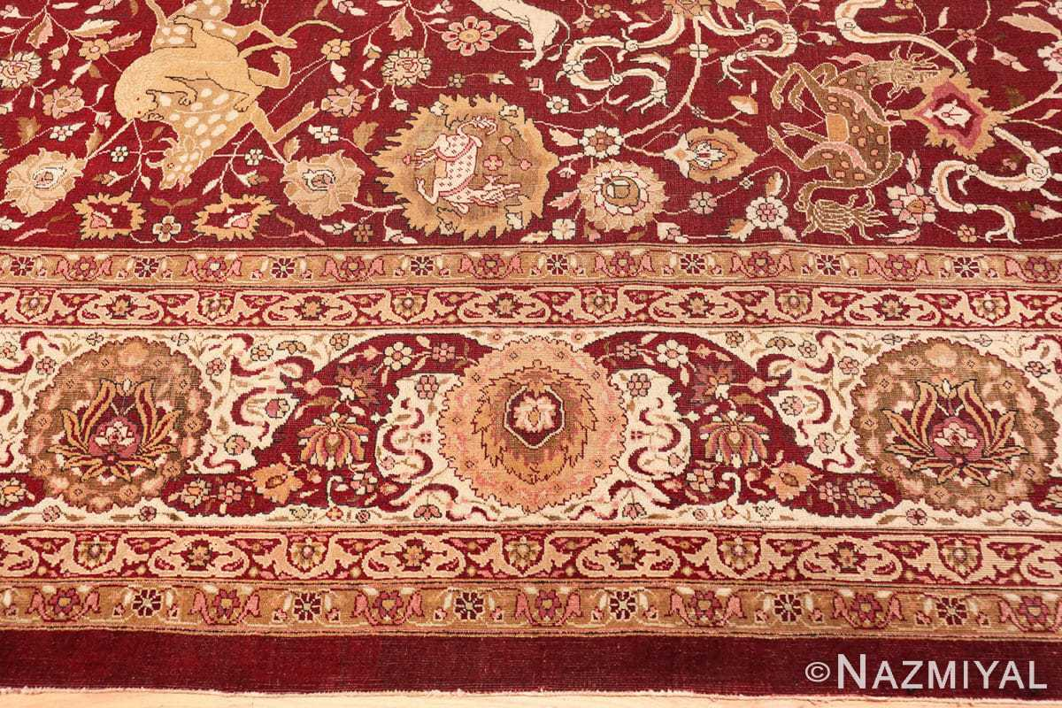 Border Room size Antique Indian agra rug 50250 by Nazmiyal
