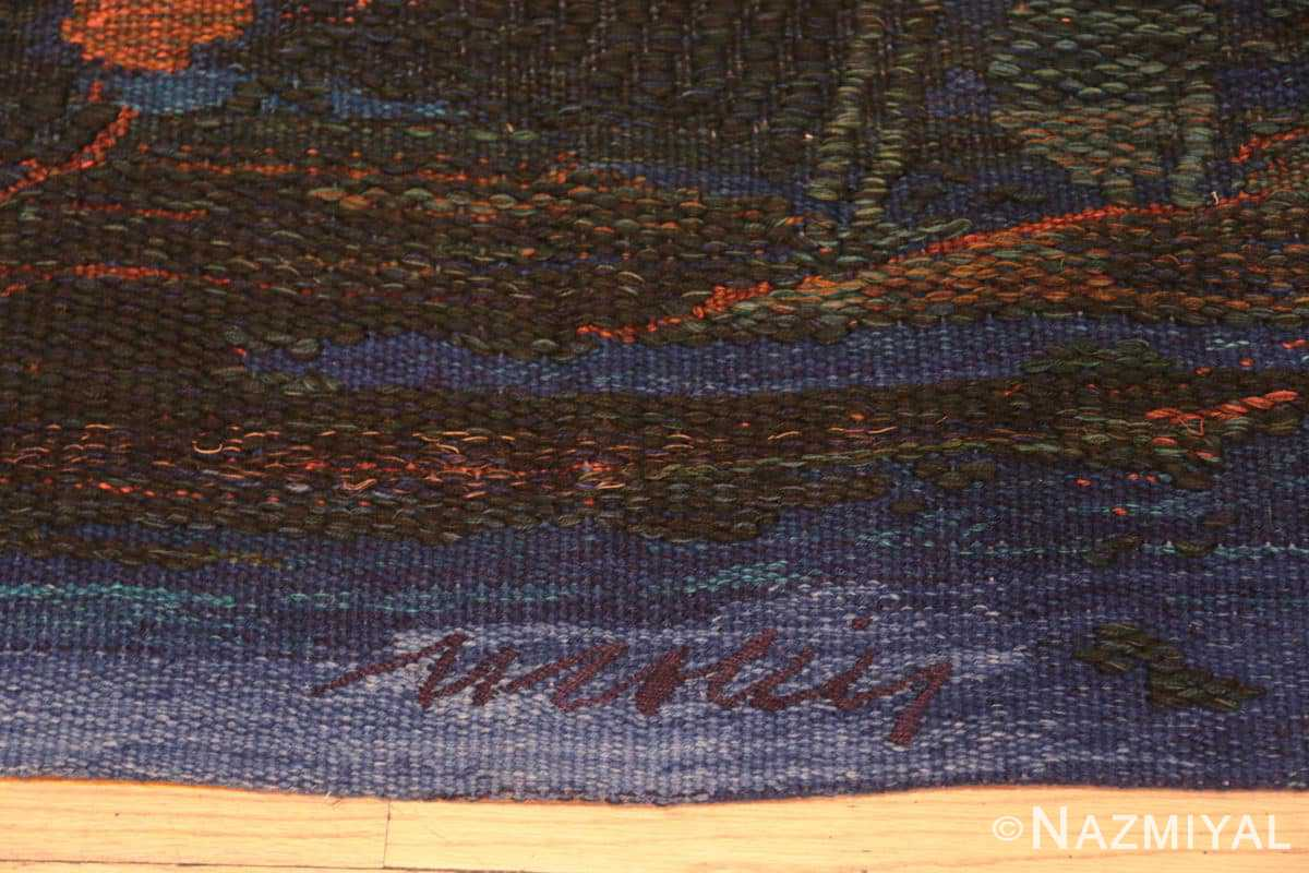 Border vintage Scandinavian Was at sea designed by Brita Molin carpet 48514 from Nazmiyal antique rugs collection