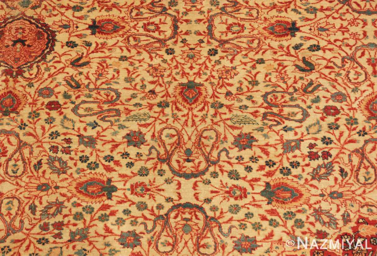 Close-up Fine and intricate antique Tabriz carpet 50312 by Nazmiyal