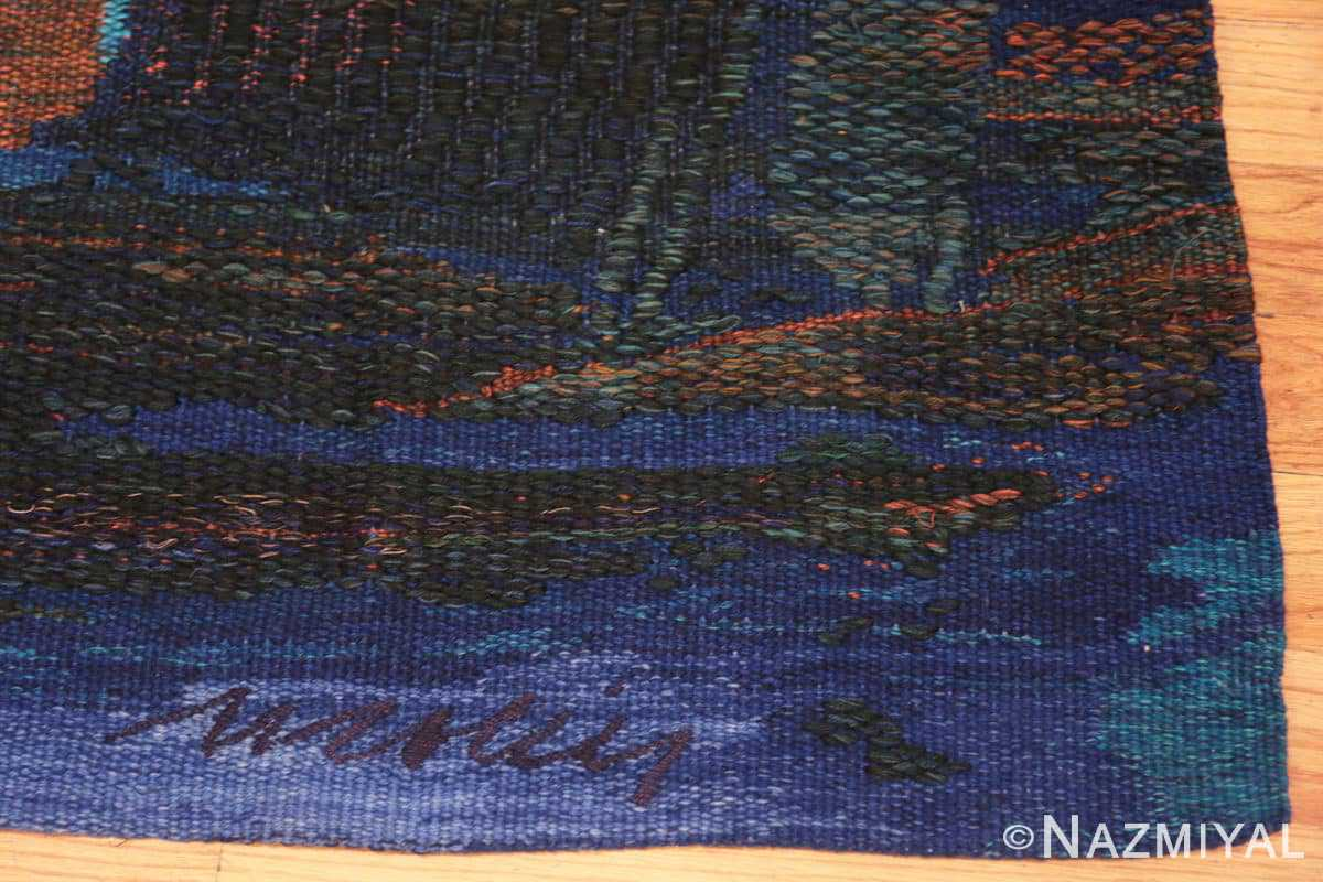 Corner vintage Scandinavian Was at sea designed by Brita Molin carpet 48514 from Nazmiyal antique rugs collection