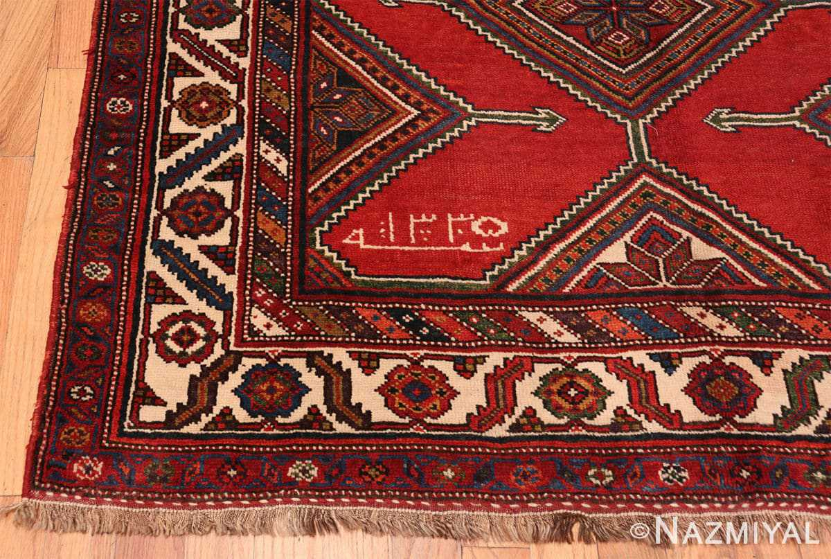 Corner Antique red color Persian Ghashgai runner rug 50301 by Nazmiyal