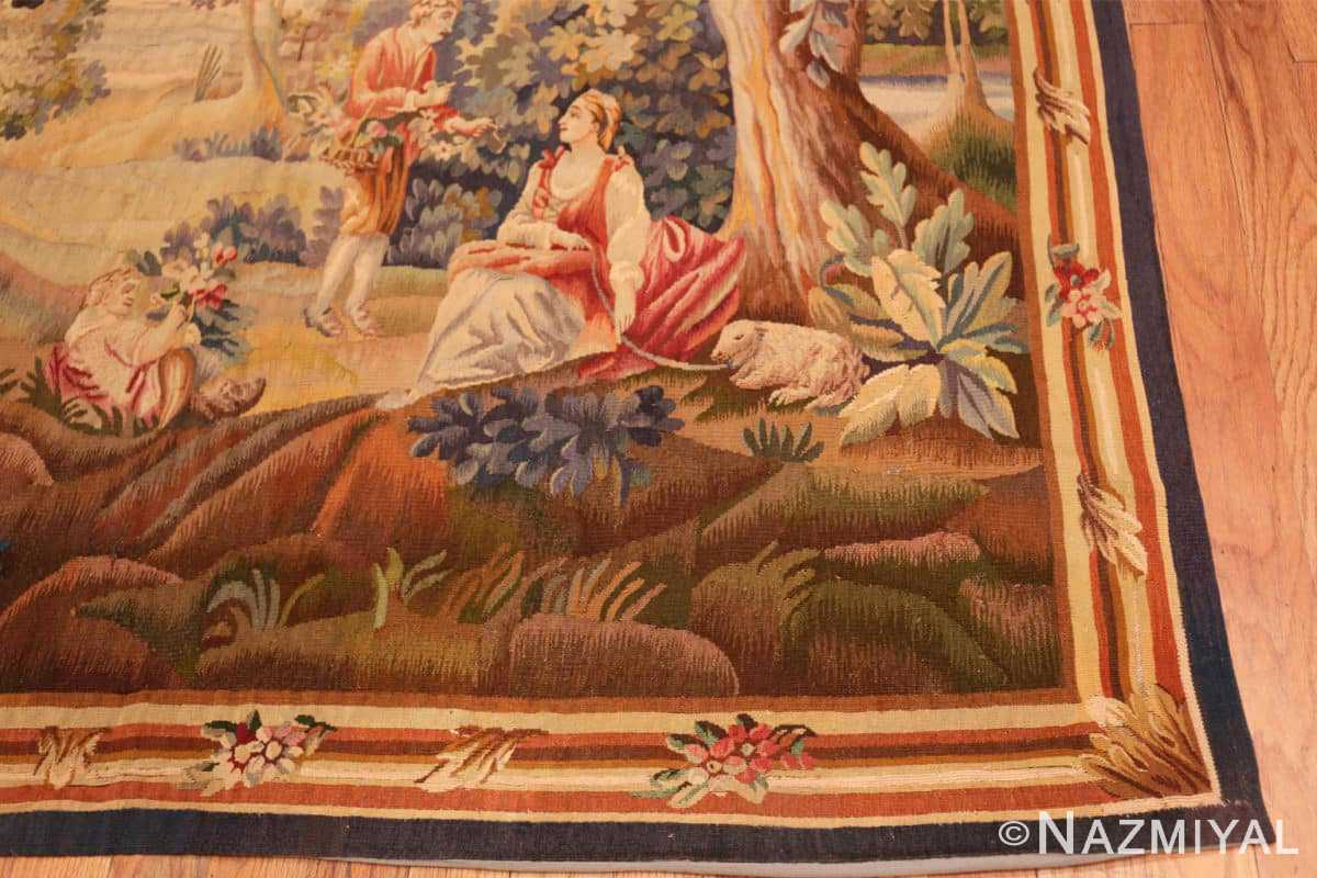 Corner Silk and wool Antique French Romantic tapestry 50279 by Nazmiyal