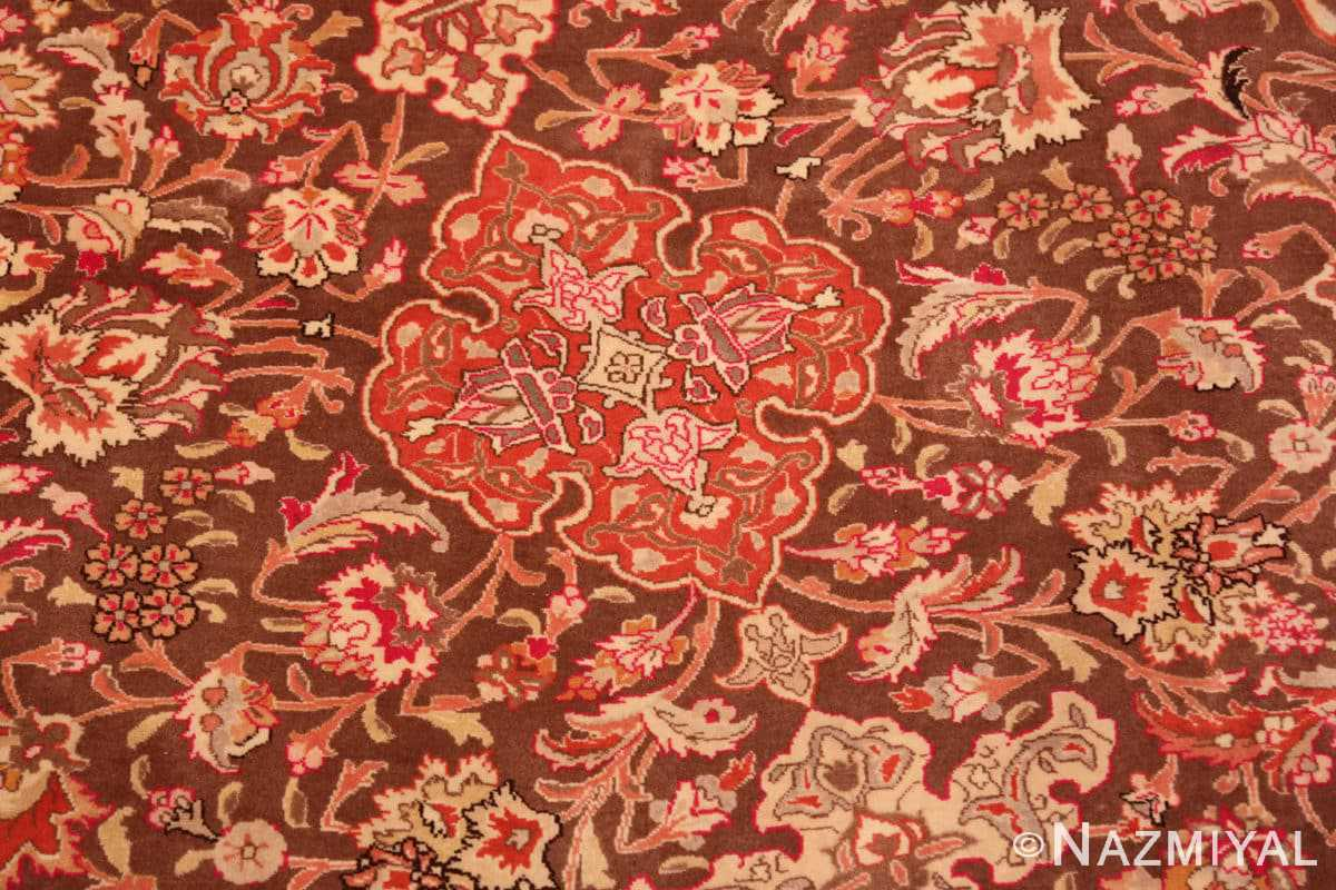 Detail Silk and wool room sized Tabriz Persian carpet 50251 by Nazmiyal