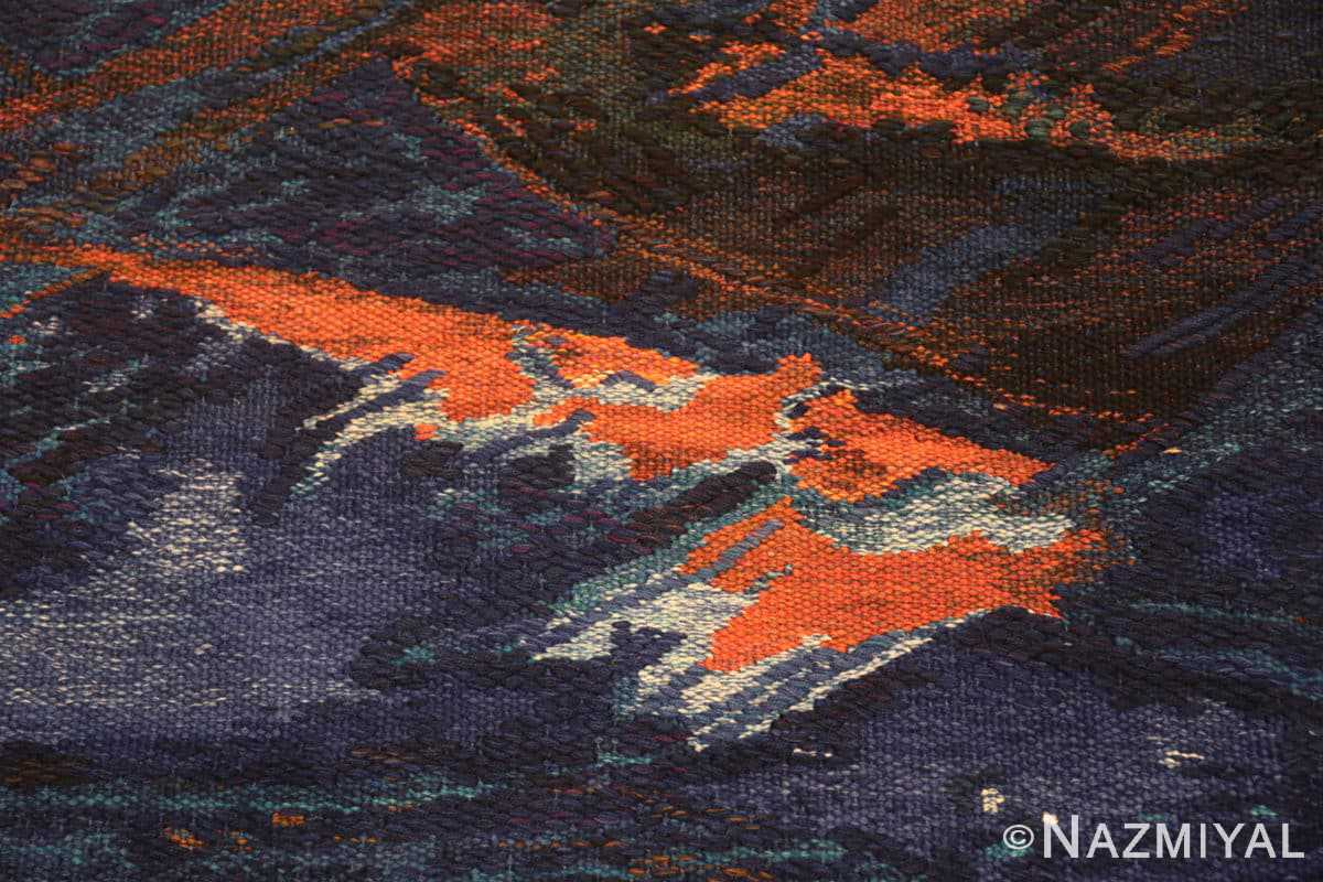 Detail vintage Scandinavian Was at sea designed by Brita Molin carpet 48514 from Nazmiyal antique rugs collection