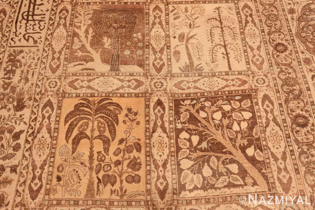 Field Antique Tabriz garden design Persian rug 50258 by Nazmiyal
