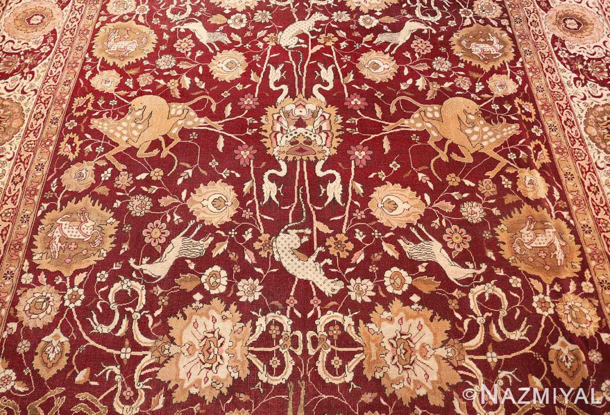 Field Room size Antique Indian agra rug 50250 by Nazmiyal