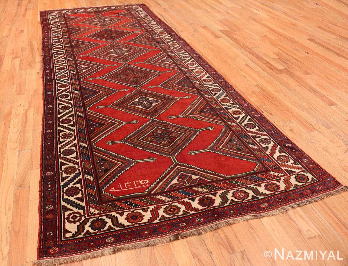 Full Antique red color Persian Ghashgai runner rug 50301 by Nazmiyal