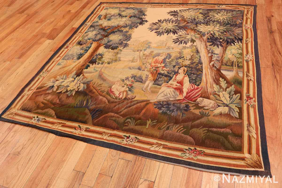 Full Silk and wool Antique French Romantic tapestry 50279 by Nazmiyal