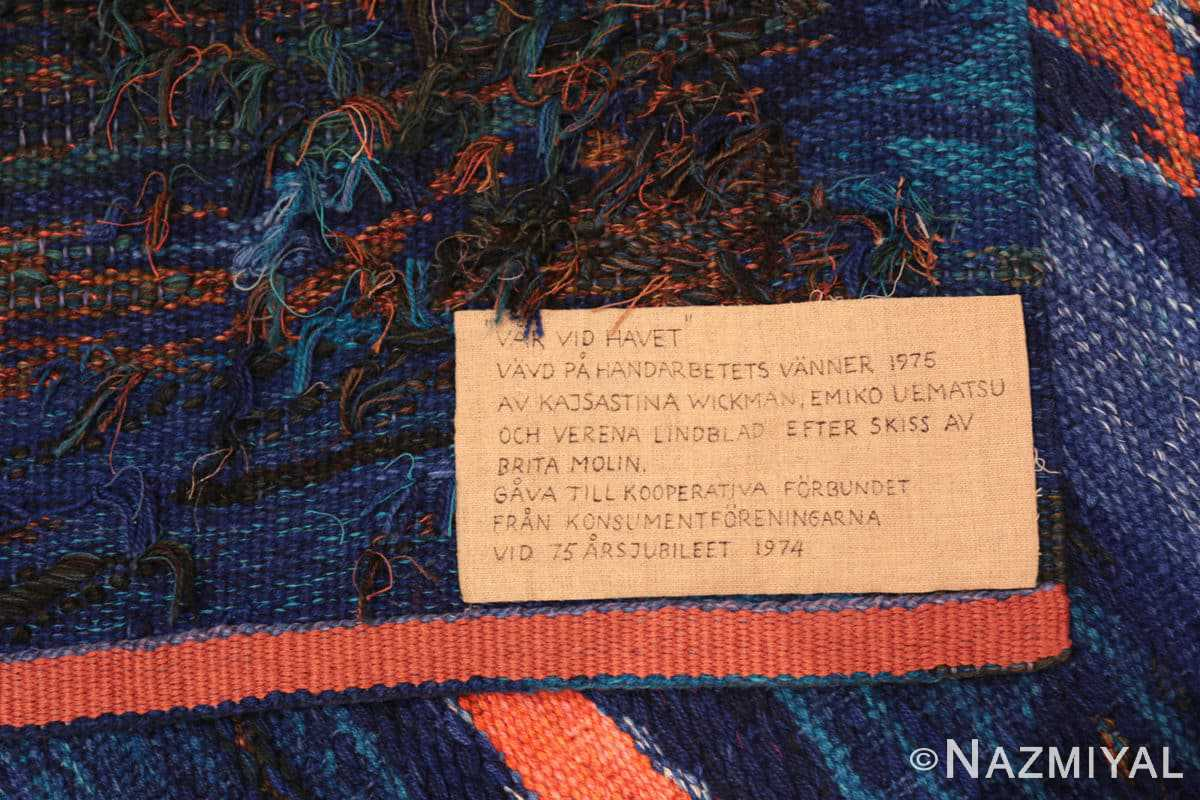 Note vintage Scandinavian Was at sea designed by Brita Molin carpet 48514 from Nazmiyal antique rugs collection