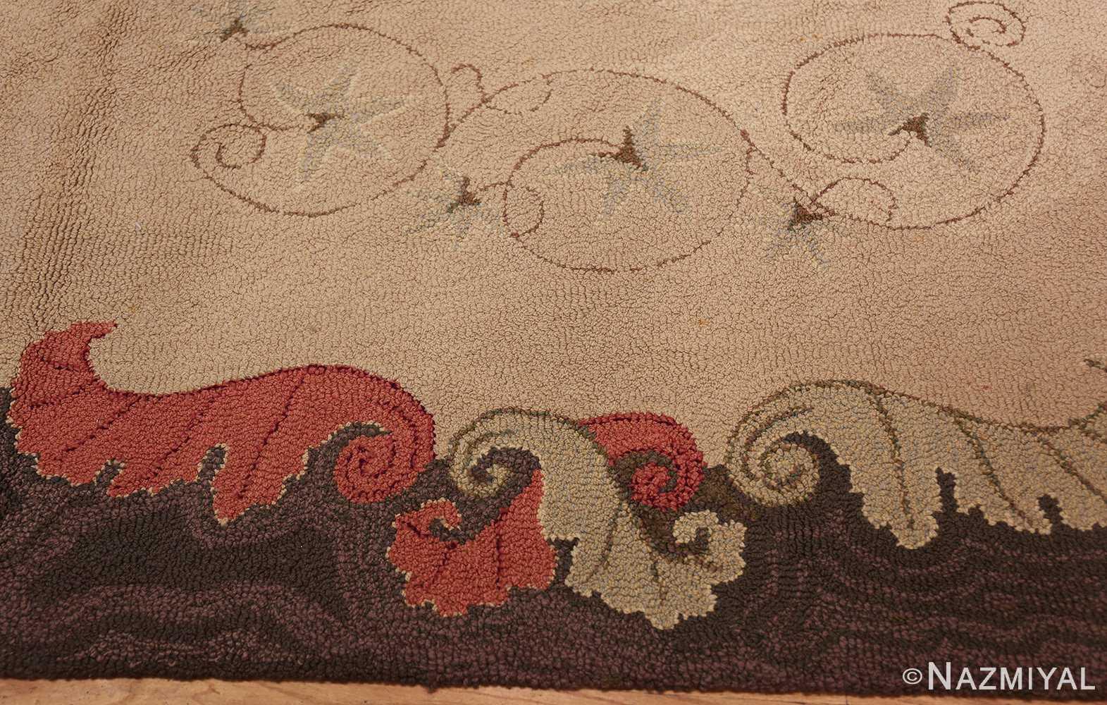 room sized antique american hooked rug 50292 border Nazmiyal
