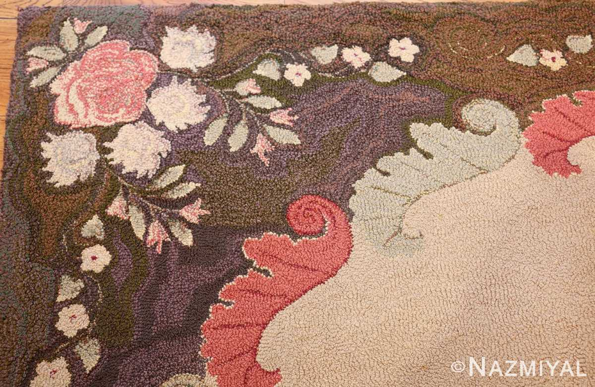 room sized antique american hooked rug 50292 corner Nazmiyal