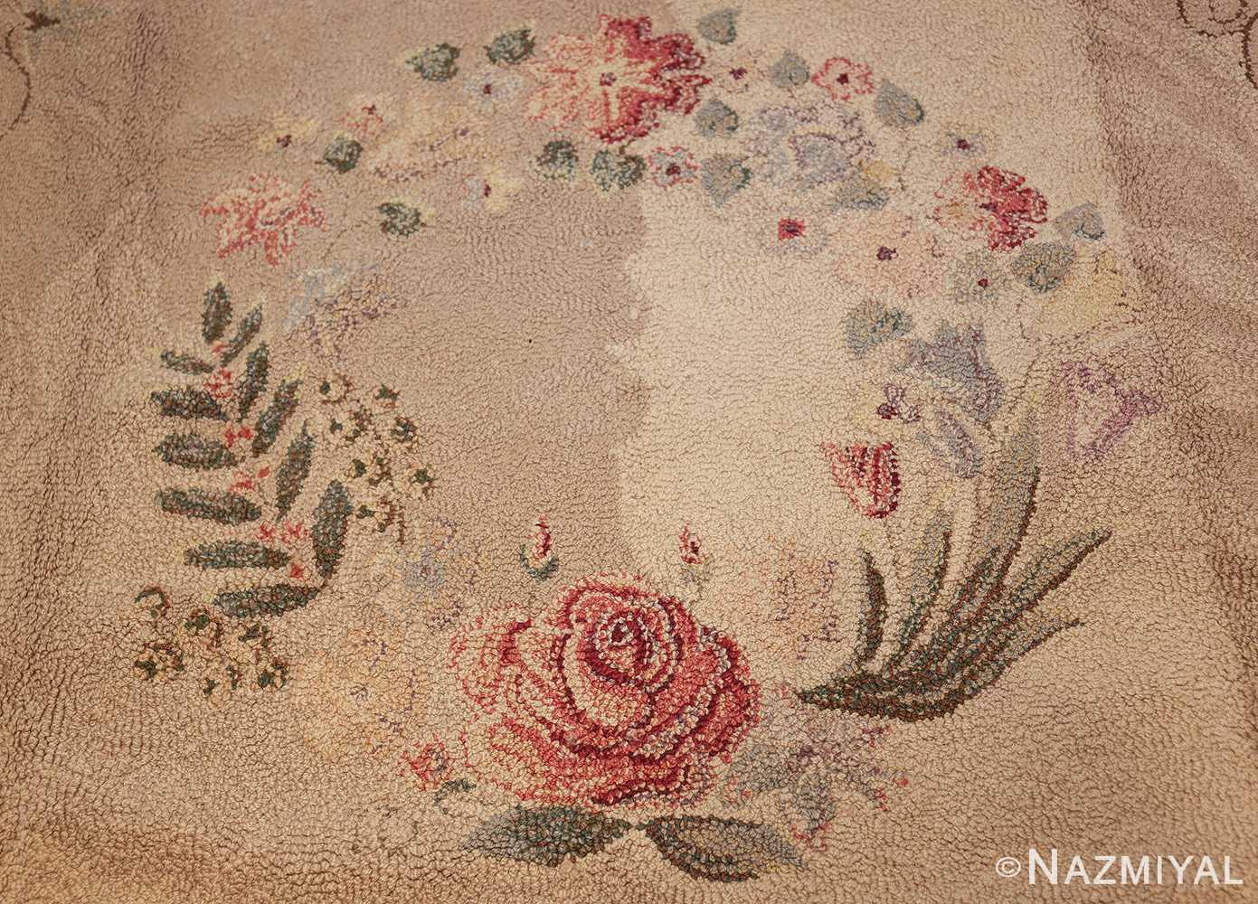 room sized antique american hooked rug 50292 medallion Nazmiyal