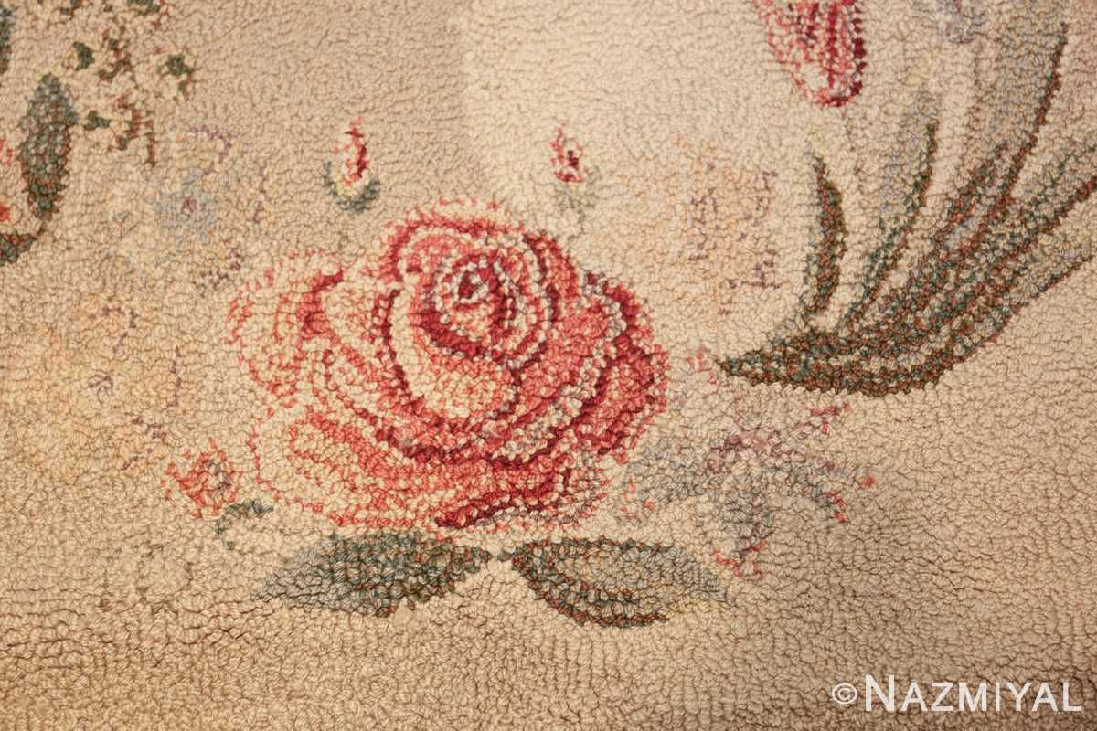 room sized antique american hooked rug 50292 rose Nazmiyal