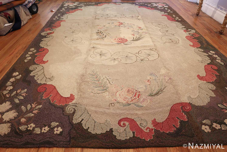 room sized antique american hooked rug 50292 whole Nazmiyal