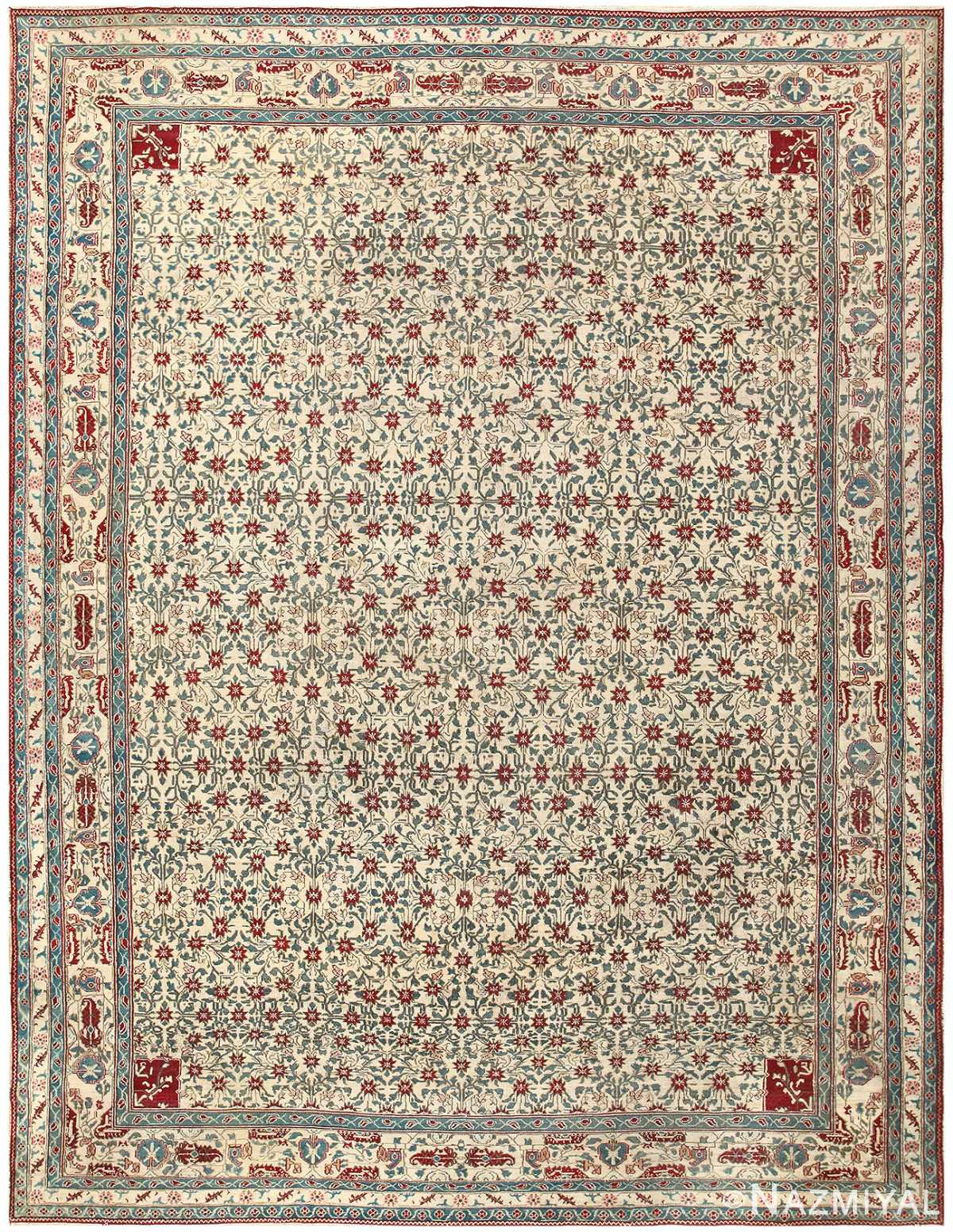 Room Sized Antique Indian Agra Rug 50180 Nazmiyal