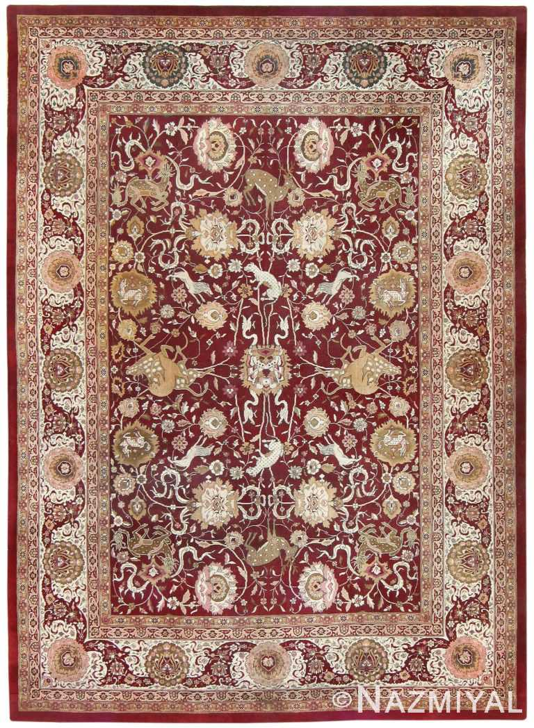 Room Sized Antique Indian Agra Rug 50250 Nazmiyal