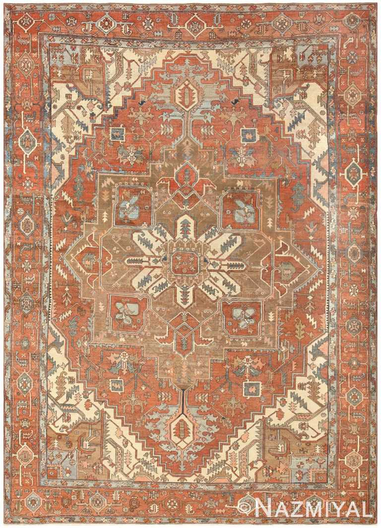 Room Sized Antique Persian Serapi Carpet 50016 Nazmiyal