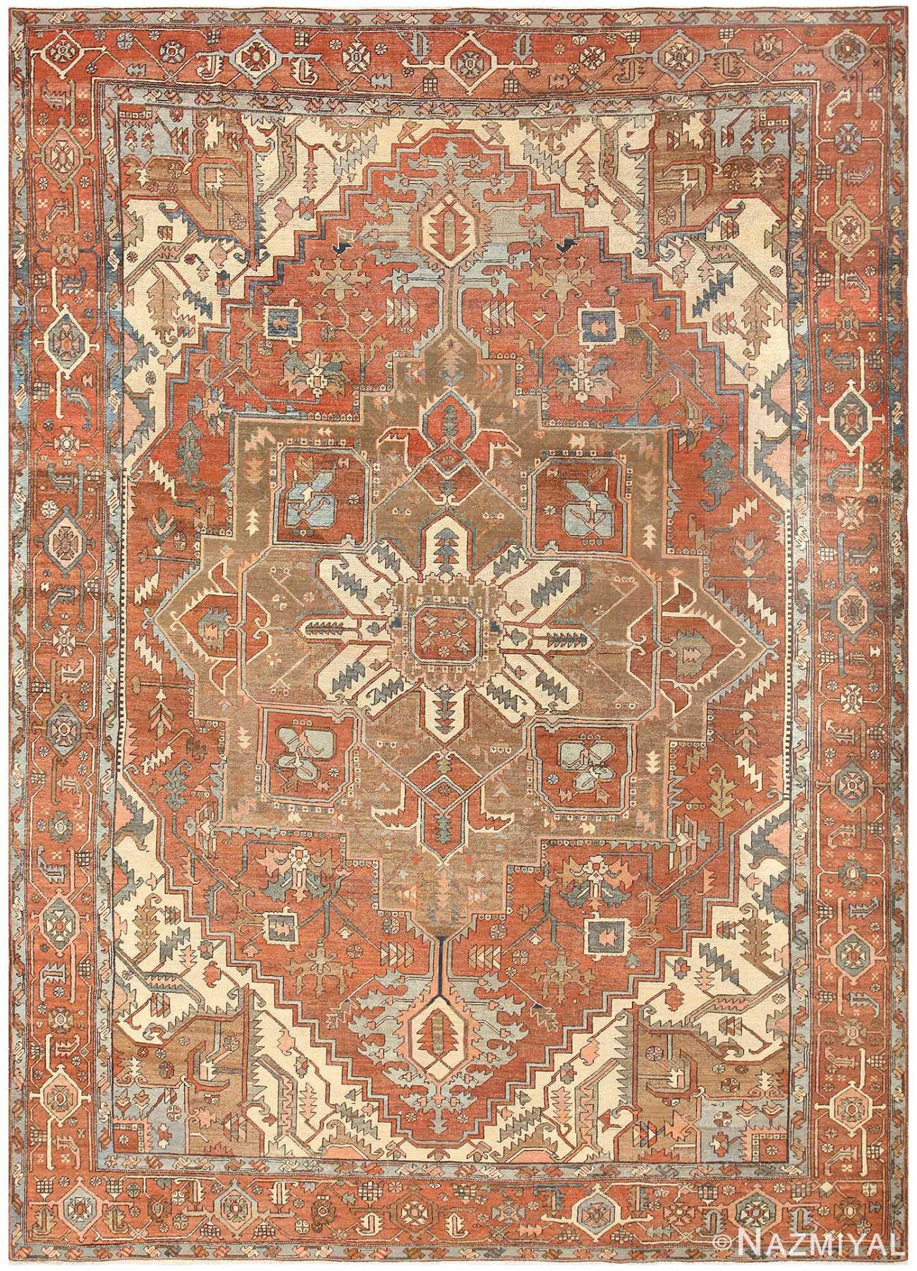 Room Sized Antique Persian Serapi Carpet 50016 Nazmiyal