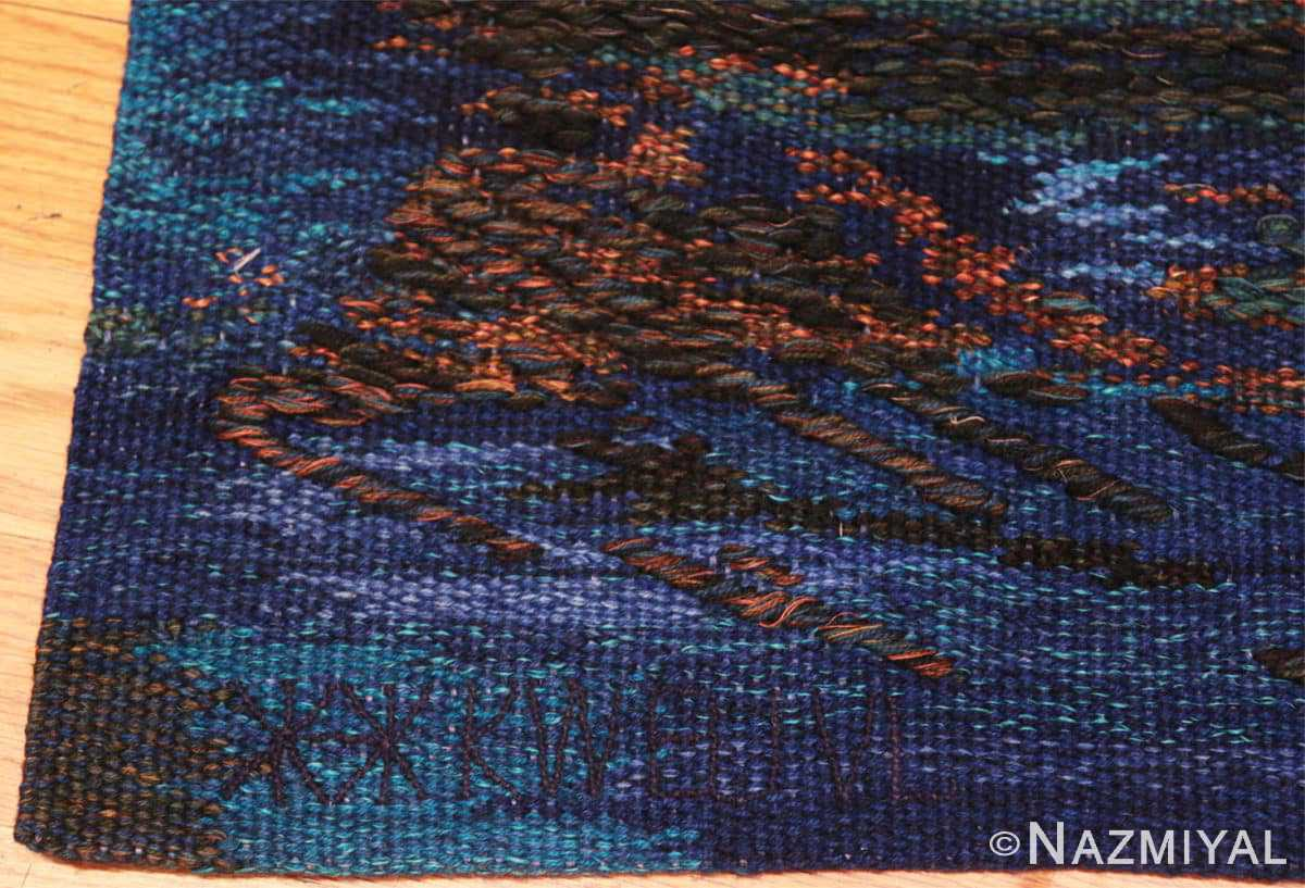 Signature vintage Scandinavian Was at sea designed by Brita Molin carpet 48514 from Nazmiyal antique rugs collection