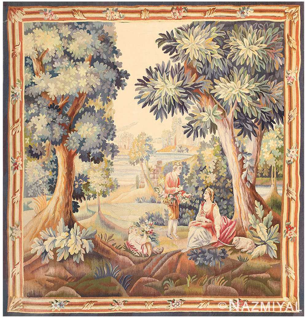 Silk and Wool Antique French Romantic Tapestry #50279 from Nazmiyal Antique Rugs in NYC