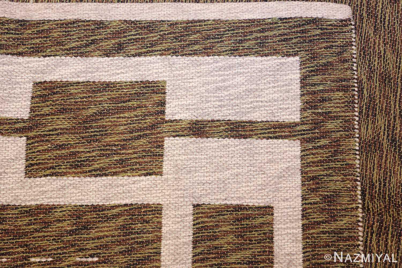 vintage double sided swedish kilim 48501 green weave Nazmiyal