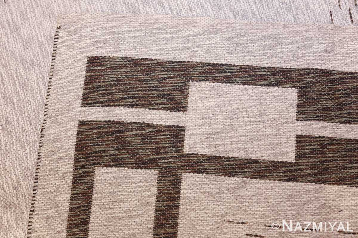 vintage double sided swedish kilim 48501 white weave Nazmiyal
