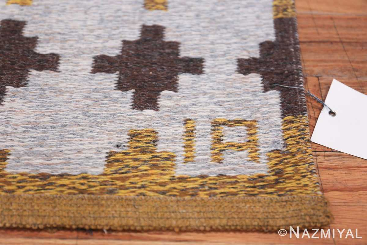 Vintage Double Sided Swedish Kilim 48503 Artist Signature Nazmiyal