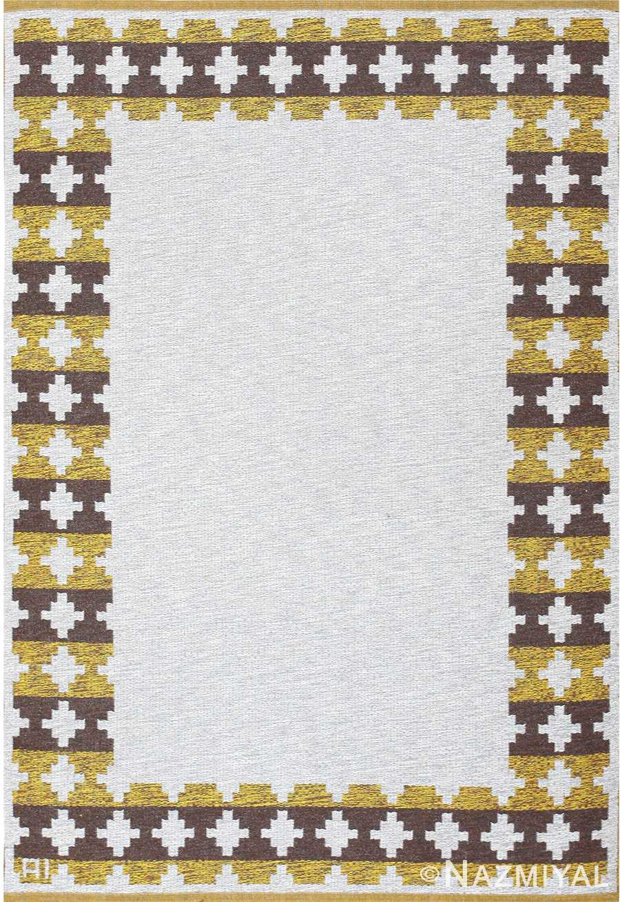 vintage double sided swedish kilim 48503 Nazmiyal