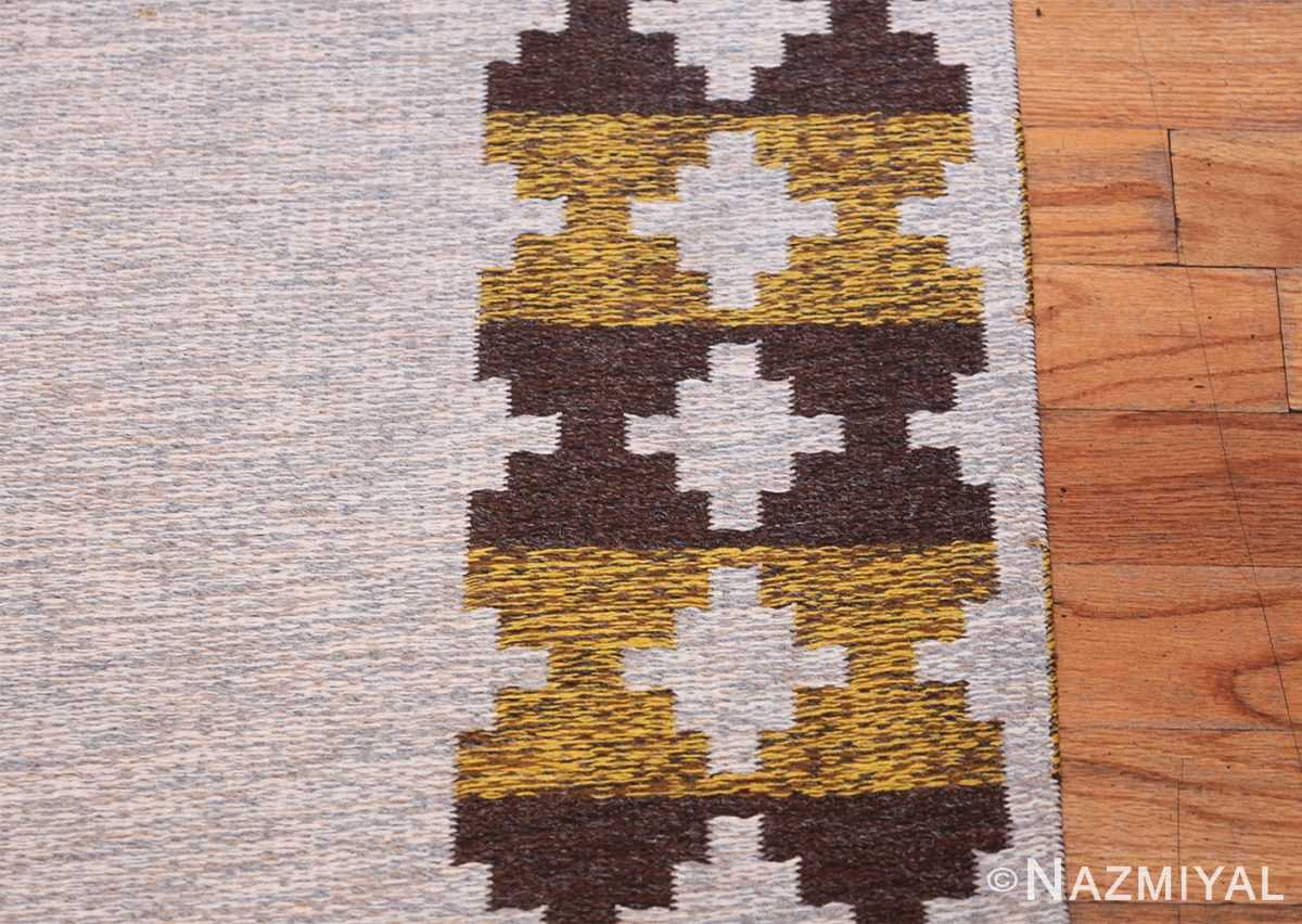 Vintage Double Sided Swedish Kilim 48503 Silver Border Nazmiyal