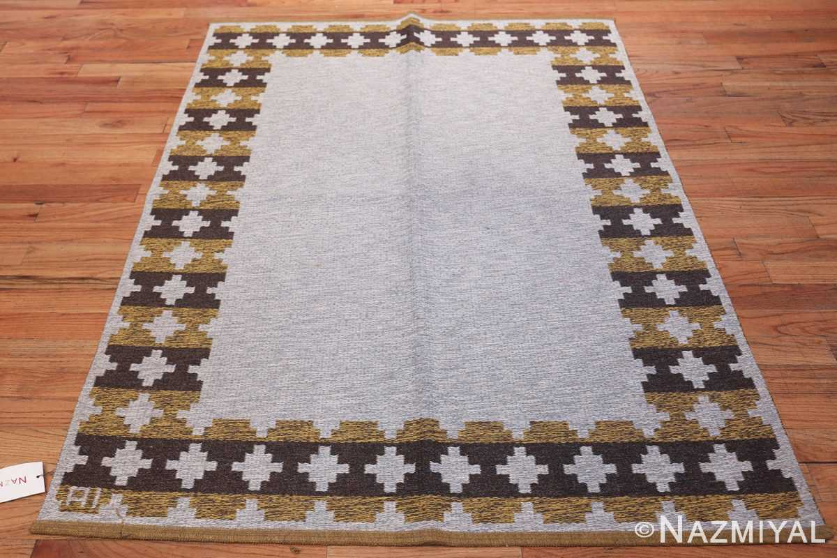 Vintage Double Sided Swedish Kilim 48503 Silver Whole Design Nazmiyal