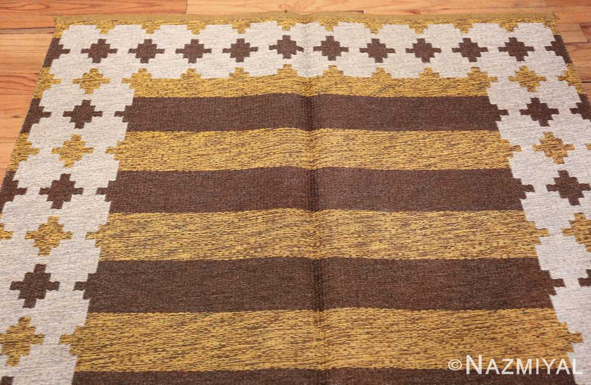 Vintage Double Sided Swedish Kilim 48503 Top Design Yellow Side Nazmiyal