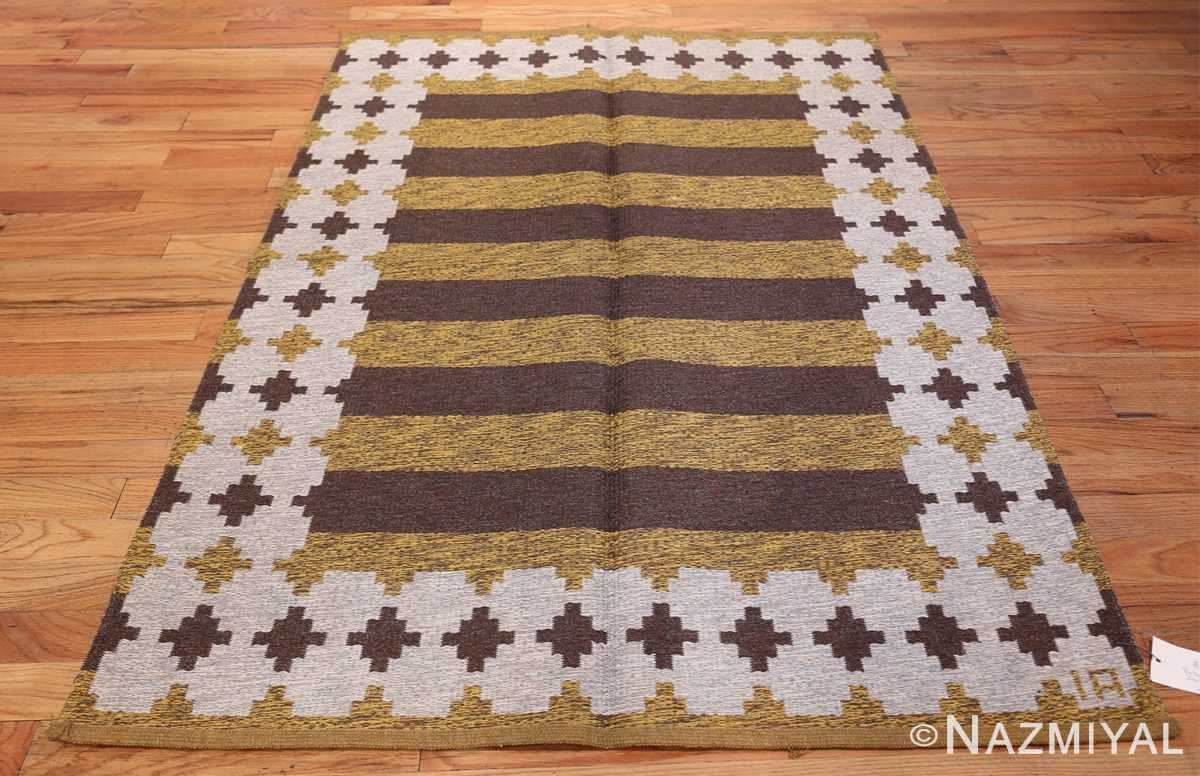 Vintage Double Sided Swedish Kilim 48503 Whole Design Yellow Nazmiyal