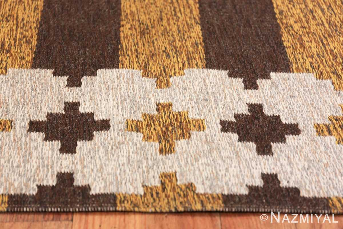 Vintage Double Sided Swedish Kilim 48503 Yellow Border Nazmiyal