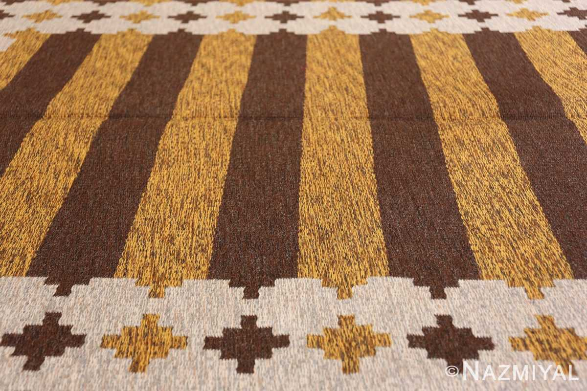 Vintage Double Sided Swedish Kilim 48503 Yellow Rows Field Namziyal