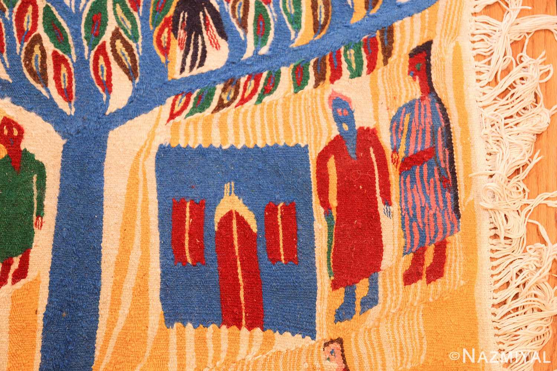 vintage judaic purim scene tapestry 48551 blue Nazmiyal