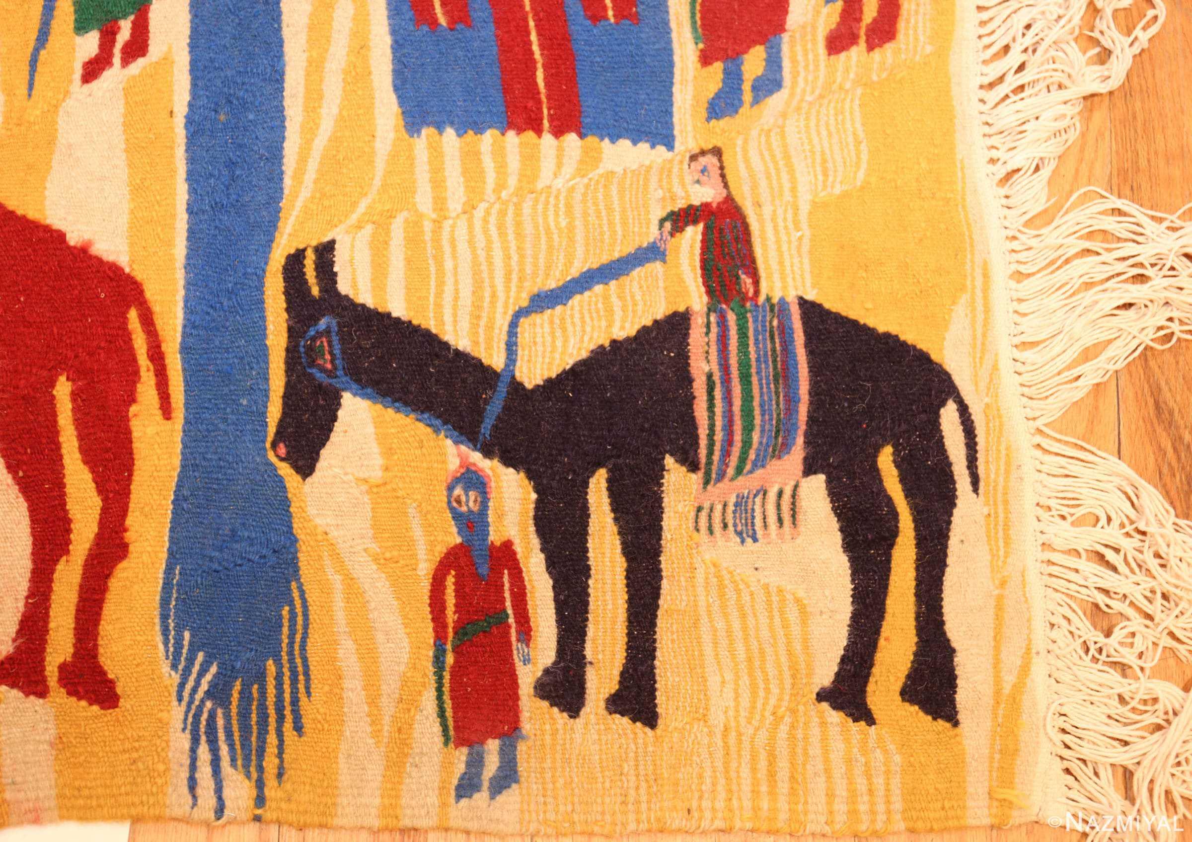 vintage judaic purim scene tapestry 48551 horse Nazmiyal