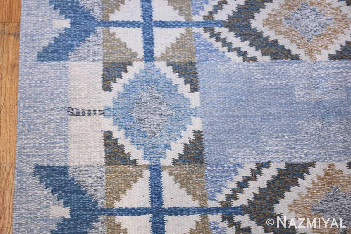 Vintage Scandinavian Kilim by Ingegerd Silow 48541 Geometric Border Nazmiyal