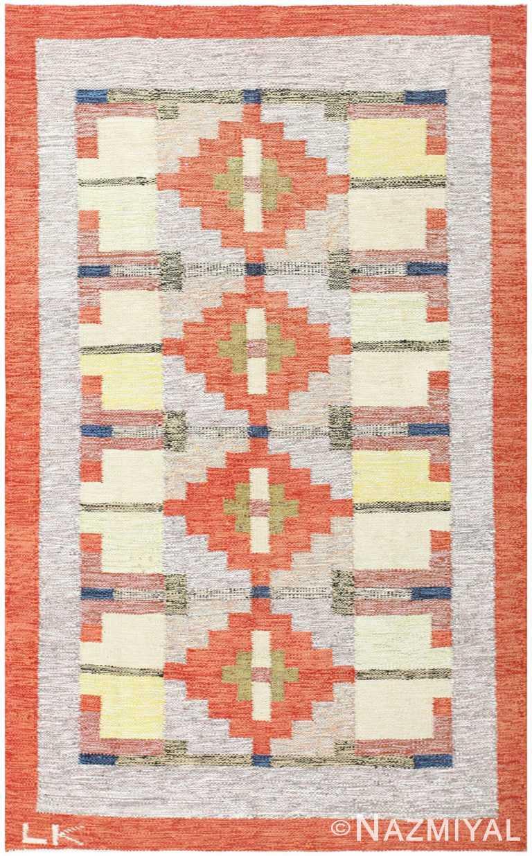 Colorful Geometric Vintage Scandinavian Swedish Kilim Area Rug #48498 by Nazmiyal Antique Rugs