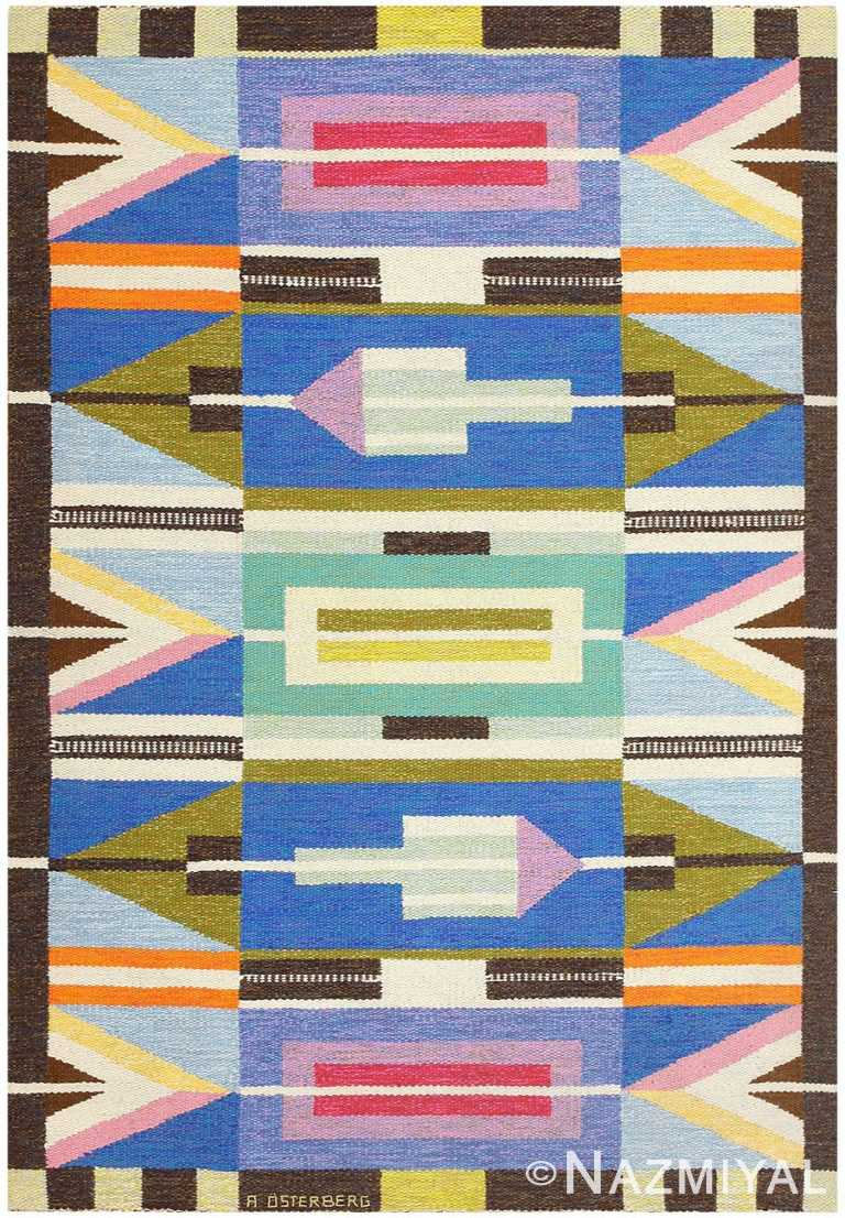 Vintage Swedish Kilim by A. Osterberg 48512 Nazmiyal