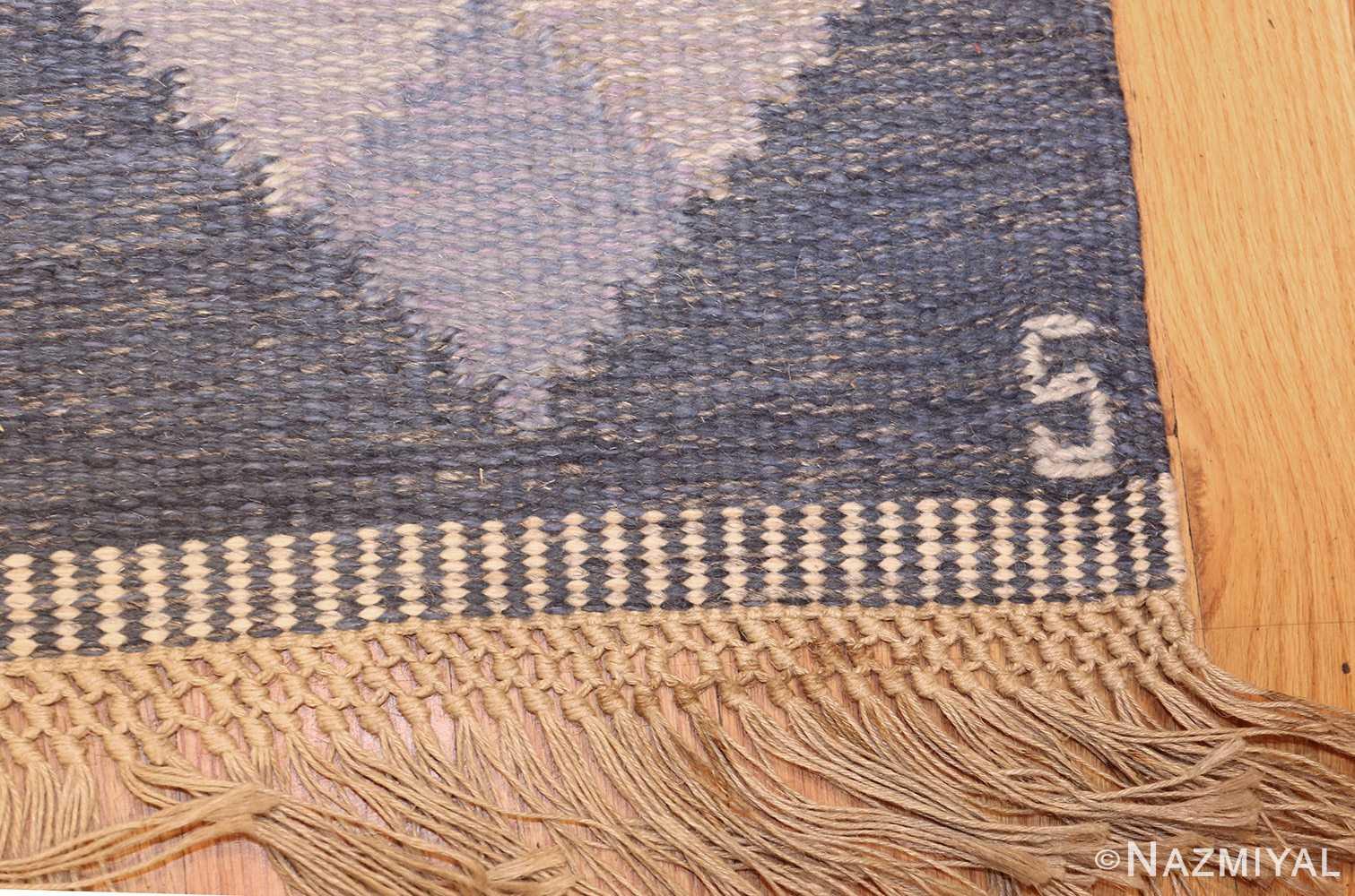 vintage swedish kilim by britta swefors 48507 signature Nazmiyal