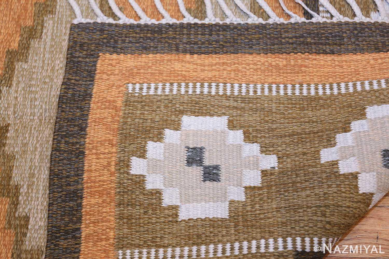 Vintage Swedish Kilim by Ingegerd Silow 48511 Knots Flat Woven Nazmiyal