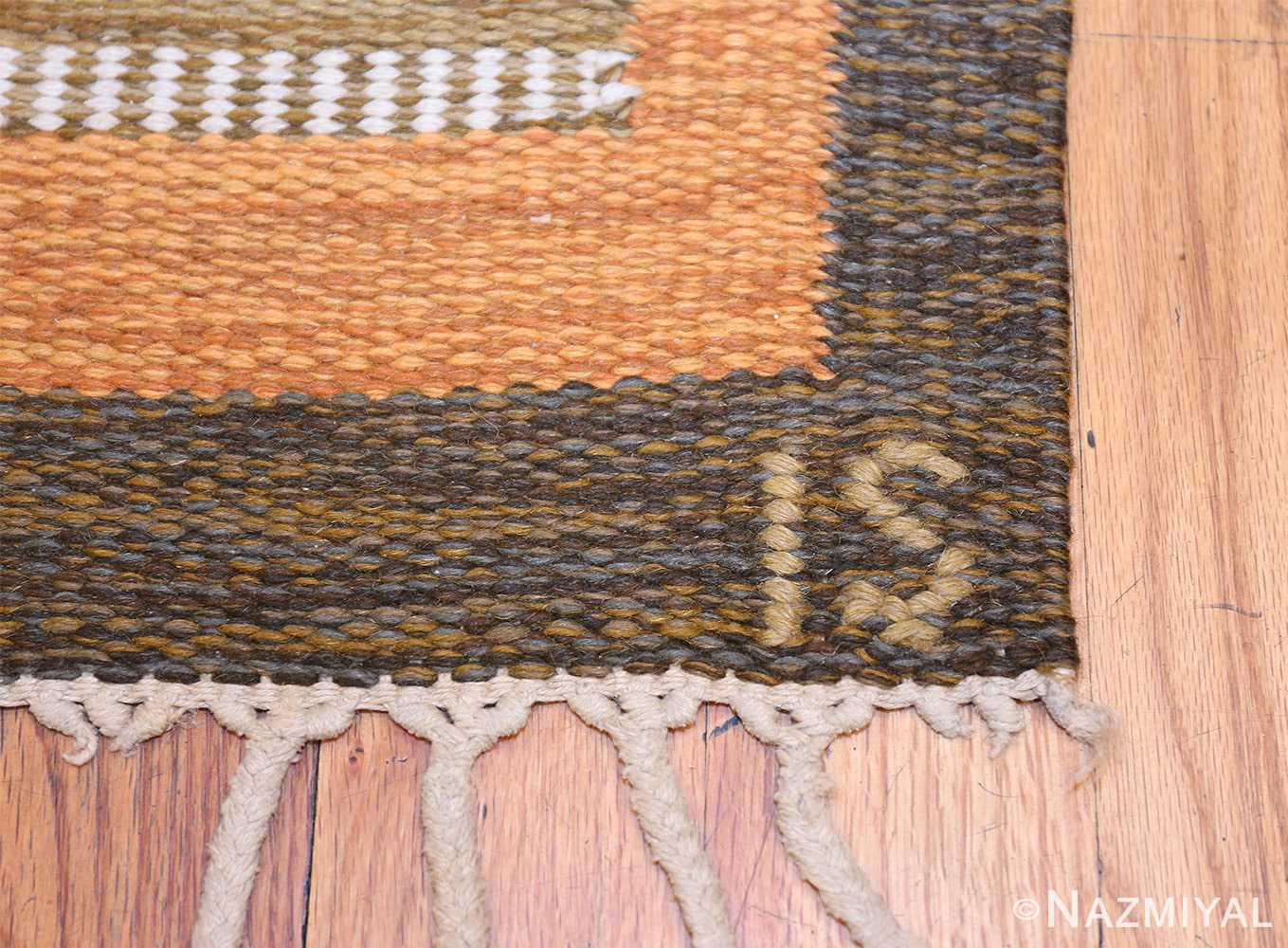 Vintage Swedish Kilim by Ingegerd Silow 48511 Signature Initials Nazmiyal