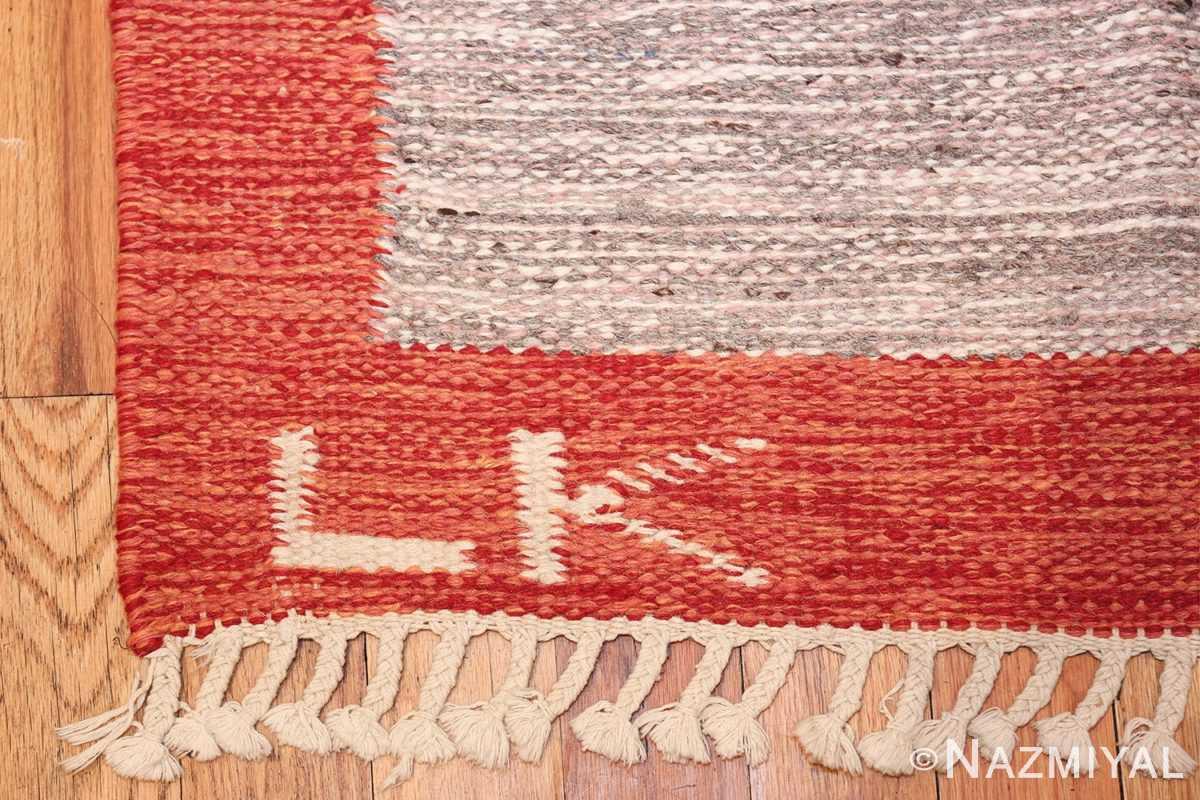 vintage scandinavian swedish kilim 48498 initials Nazmiyal