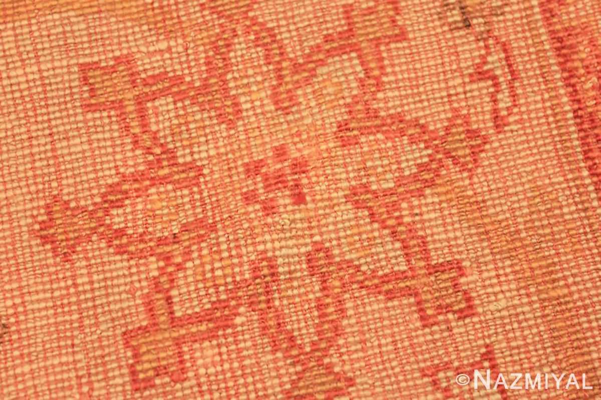 Weave detail Antique Oushak room sized Turkish rug 50299 by Nazmiyal