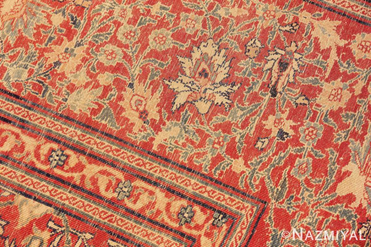 Weave detail Fine and intricate antique Tabriz carpet 50312 by Nazmiyal