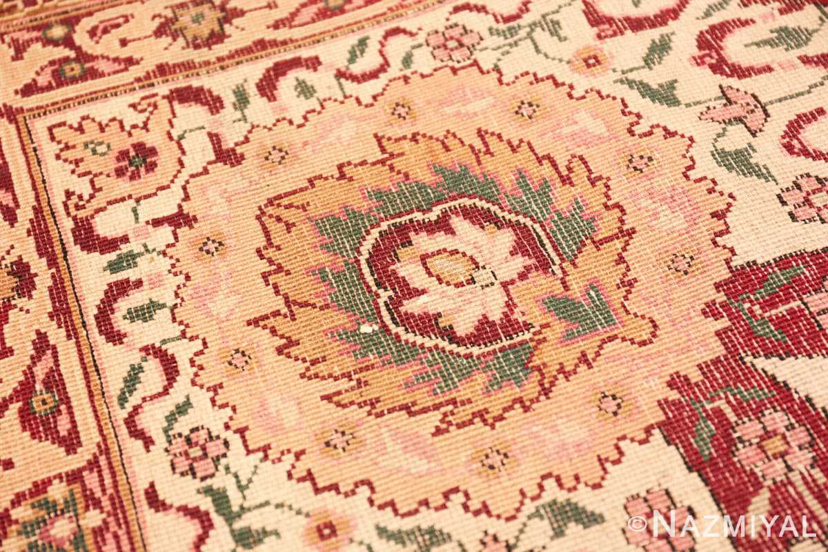 Weave detail Room size Antique Indian agra rug 50250 by Nazmiyal