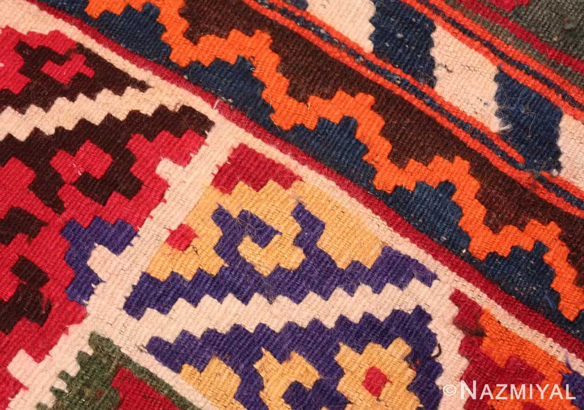 Weave detail Tribal Antique Persian Ghasgai rug 50269 by Nazmiyal