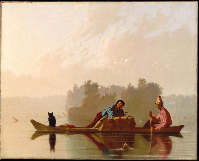 Painting Of Fur Traders Descending the Missouri by George Caleb Bingham Nazmiyal